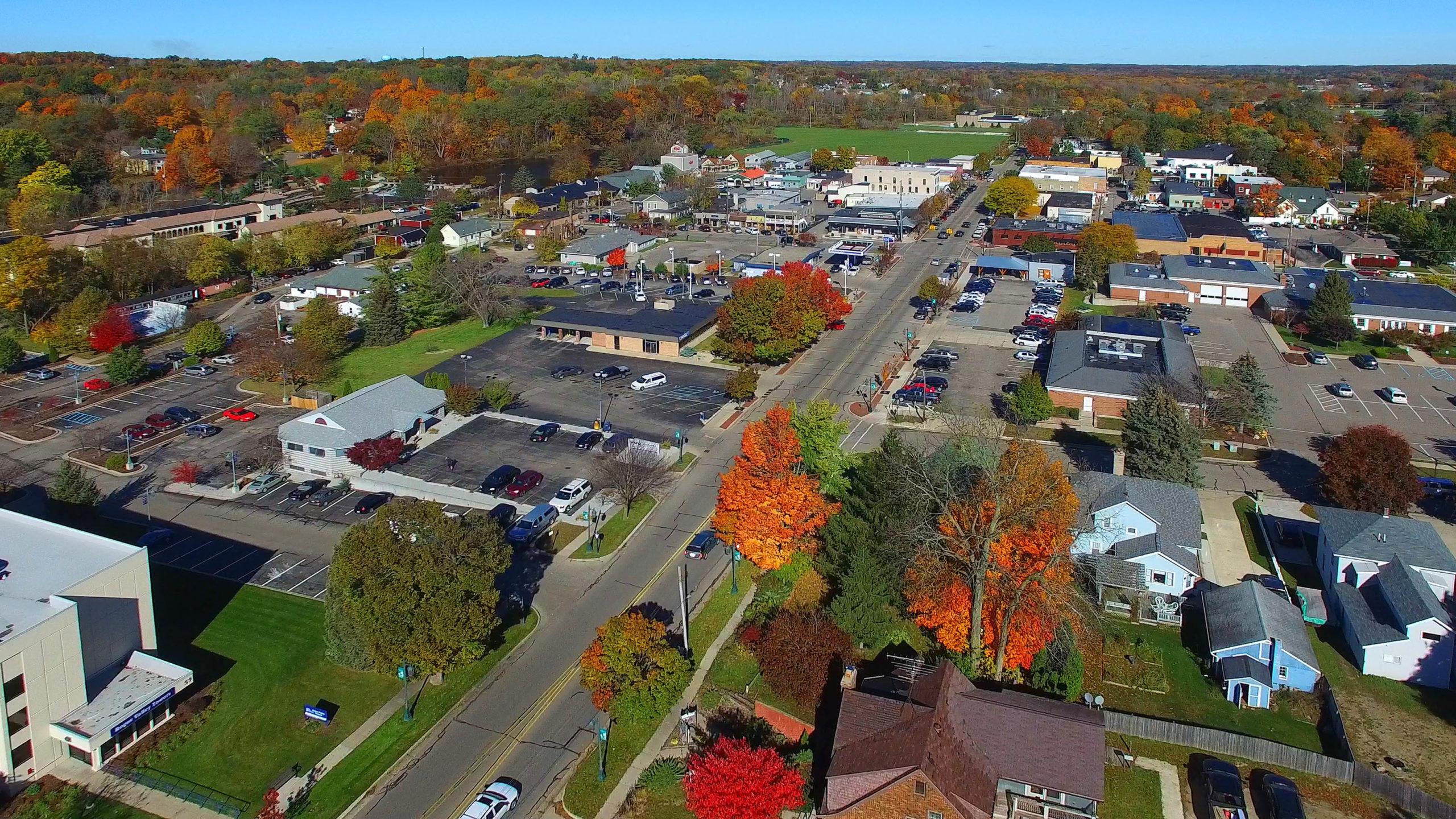 Ariel view of downtown Rockford Michigan